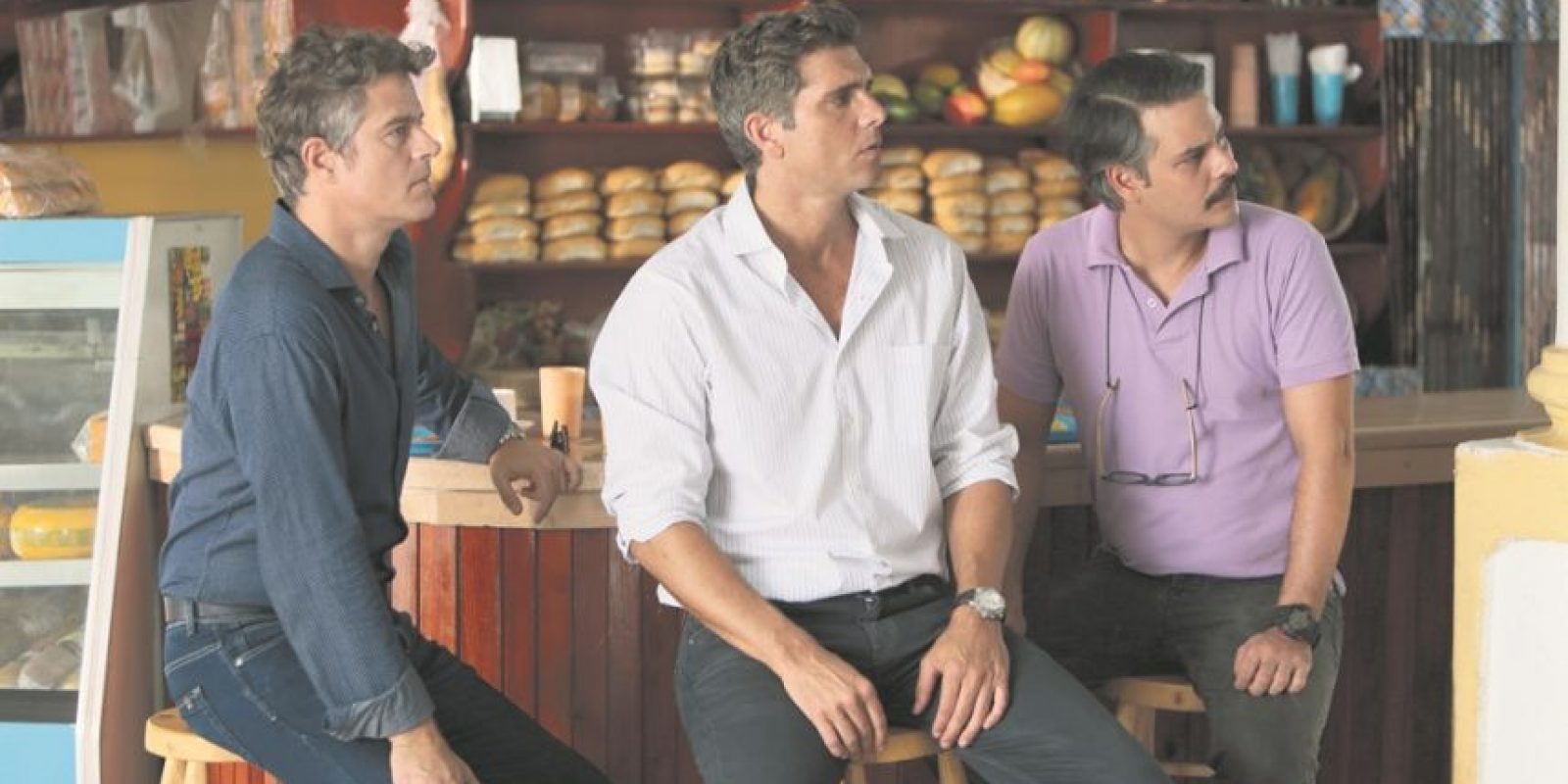 Mike Amigorena, Christian Meier y Frank Perozo en una escena de la película Todos los hombres son iguales. Foto:Fuente Externa