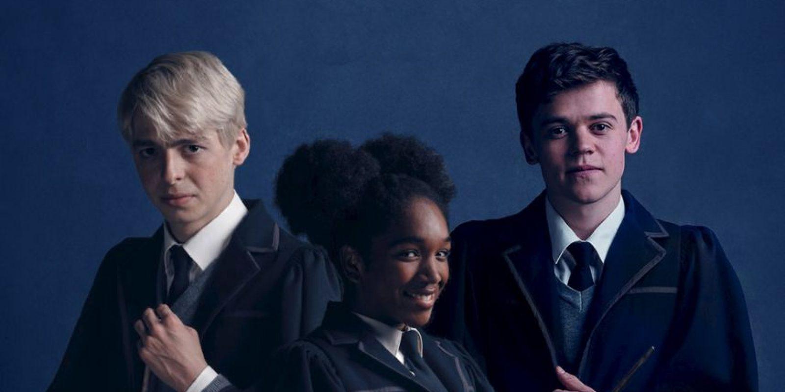 """Anthony Boyle (""""Scorpius Malfoy""""), Cherrelle Skeete (""""Rose Granger-Weasley"""") y Sam Clemmett (""""Albus Severus Potter""""). Foto:Pottermore"""