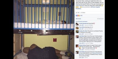 Gracias a esta imagen donde Andre Palmer permanece al pendiente de la salud de su hijo descansando debajo de la cuna de hospital, él y su esposa han recibido decenas de mensajes de apoyo y cariño. Foto:Facebook Amy Palmer