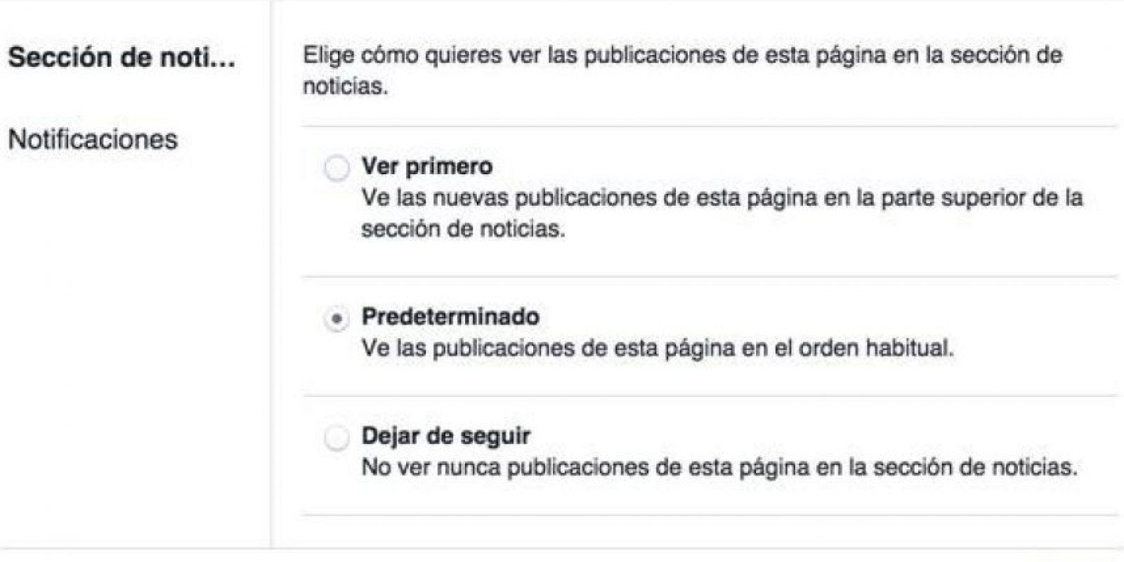 """Si quieren editar más a detalle su configuración, pueden elegir el """"lápiz"""" que se encuentra junto al texto """"En tu sección de noticias"""". Foto:Facebook"""