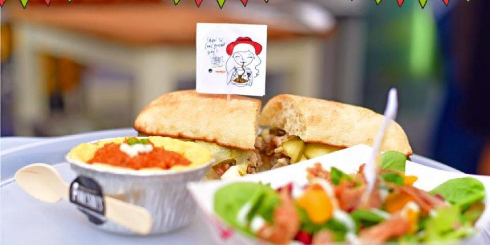 Parte de la variedad en el Bocao Food Fest: Sándwich de porchetta y polenta de The Porcisni's, papas fritas de Mila, un corte de Meat Lovers y un pinxto de solomillo de Oveja Negra. Foto:Fuente Externa