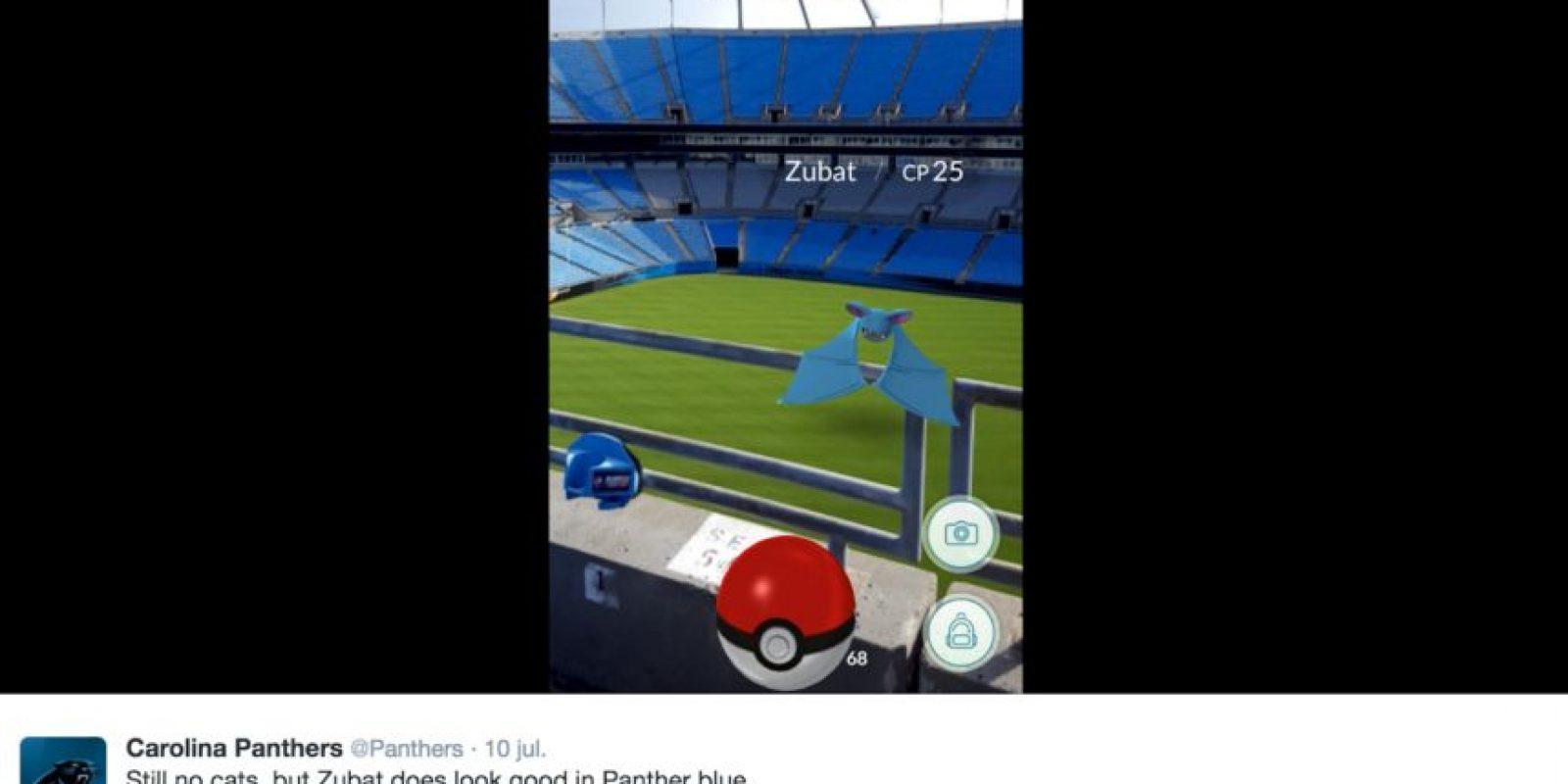 En los estatadio de Estados Unidos, los pokémon han aparecido por todos lados Foto:Twitter Panthers