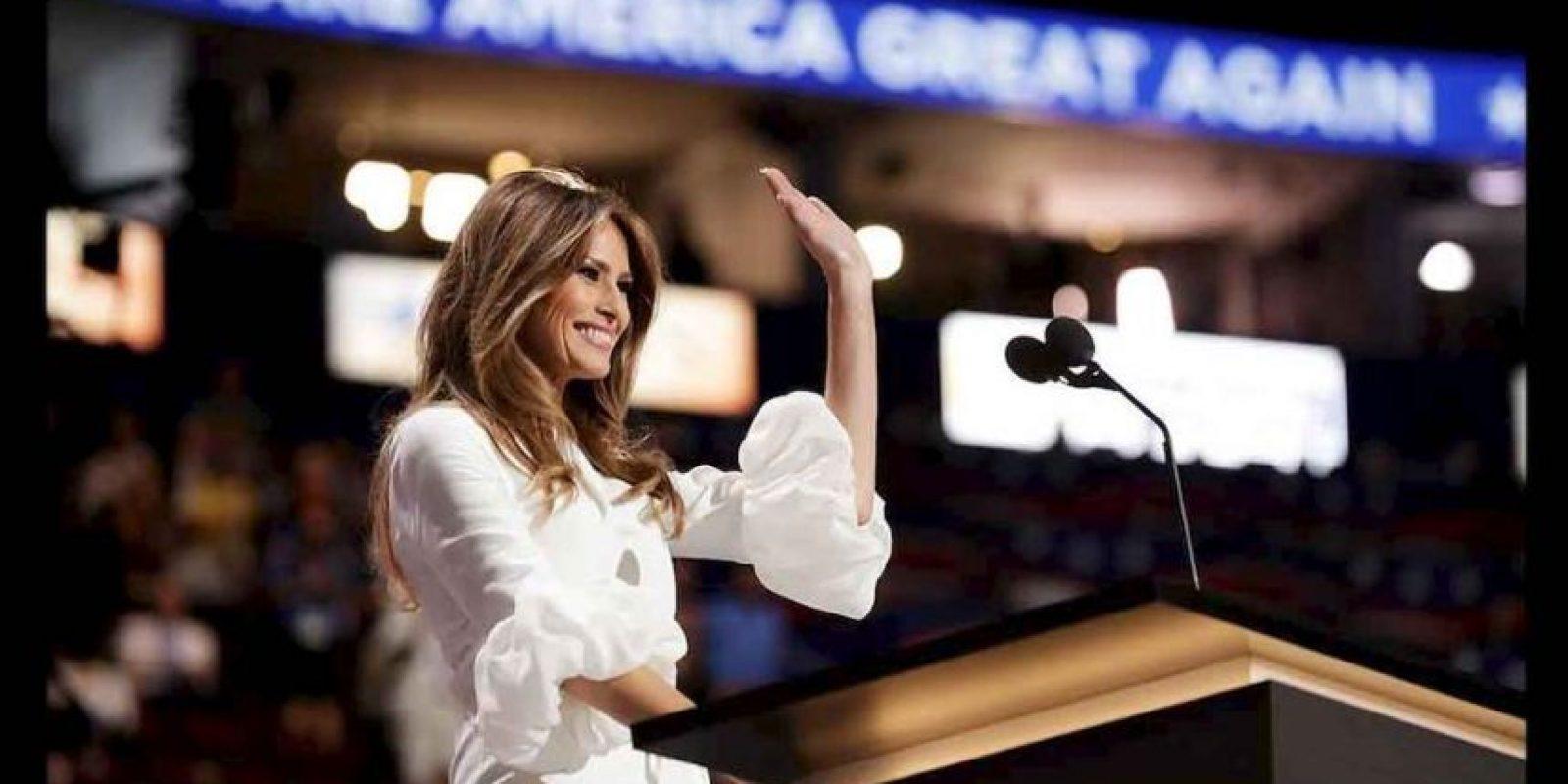 Melania Trump tomó el escenario de la Convención Nacional Republicana para ofrecer una visión personal de su esposo, el virtual candidato del Partido Republicano a la Casa Blanca, Donald Trump. Foto:Getty Images
