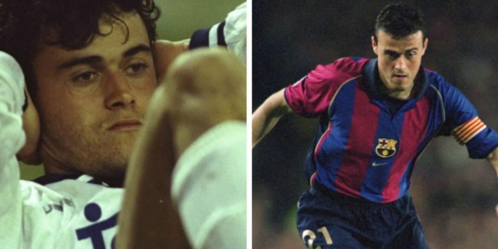 El actual técnico de Barcelona, Luis Enrique, jugó primero en Real Madrid y después partió al equipo culé para consolidarse e, incluso, ser capitán Foto:Getty Images