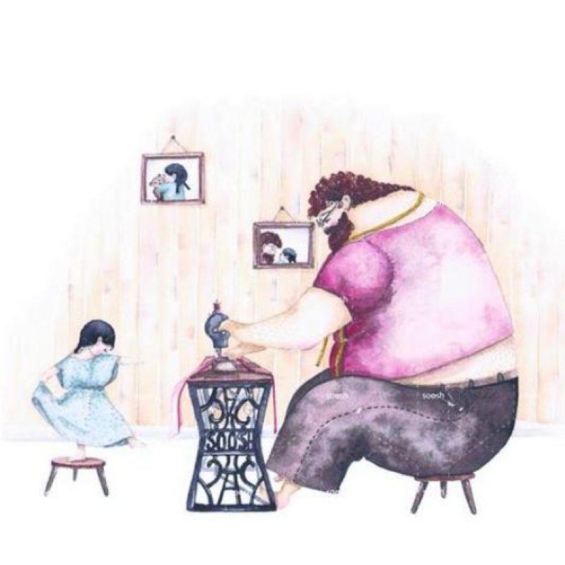 7- Coser es tarea de la mamá, pero a veces también del papá. Foto:Metro