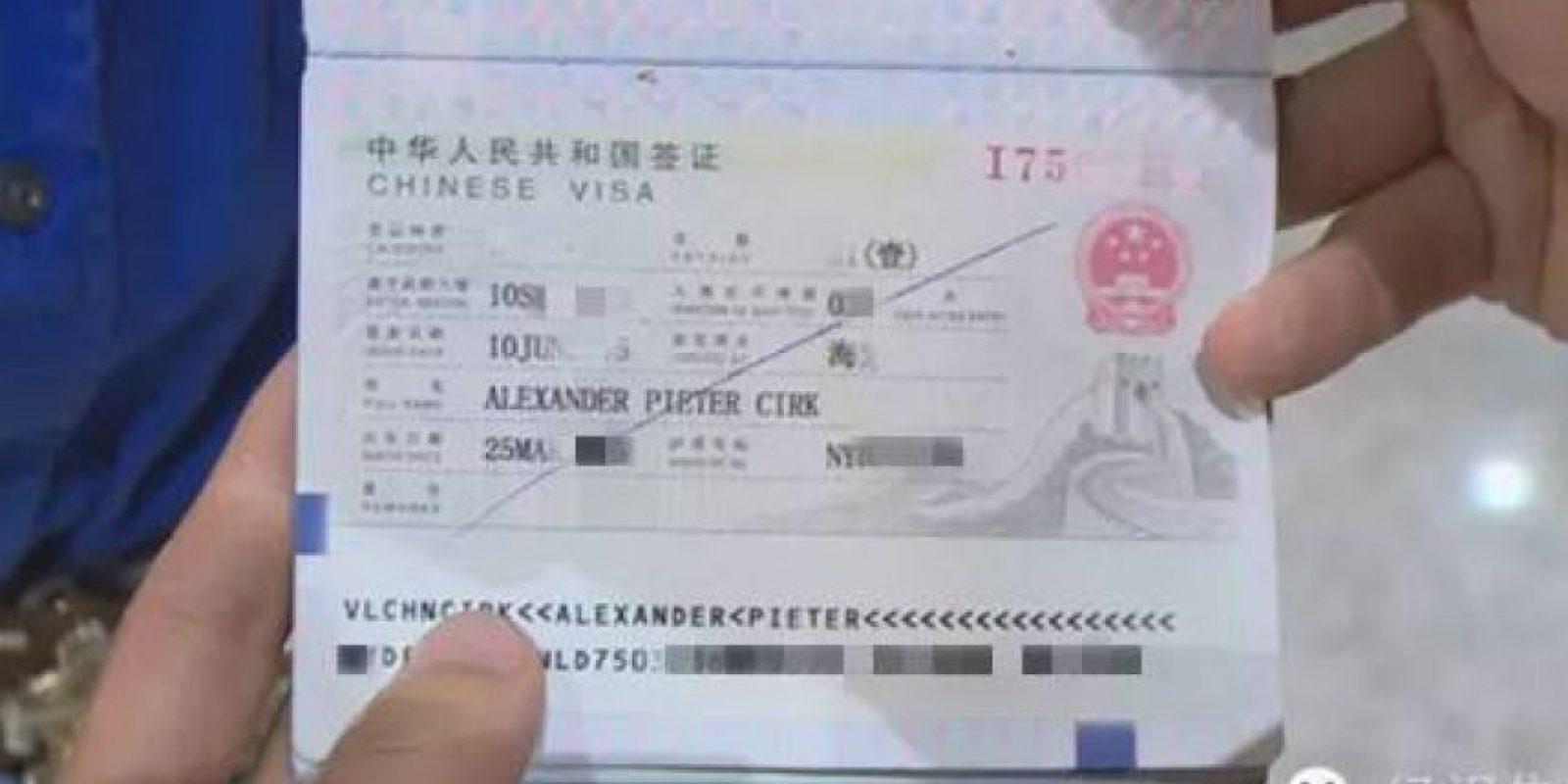 Este era su visa temporal con 15 días de validez Foto:Weibo.com