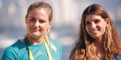 Kahena y Martine, identificadas como favoritas para facturar el primer oro de la vela femenina. Foto:SAULO CRUZ/EXEMPLUS/COB