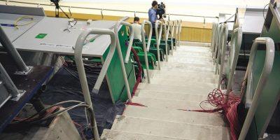 Barandilla estaba suelta en una de las gradas Velódromo.