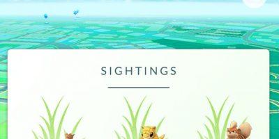 Según indican los que ya tienen el sistema activo, la nueva opción Sightings muestra los pokémon en el área general en la que estamos poniendo tras ellos un icono de hierba. Foto:Niantic/Nintendo