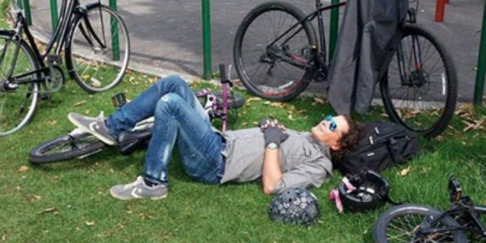 Acá, en medio de bicicletas. Foto:Instagram