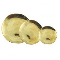 Platos Dorados (Set de 3). Platos dorados de porcelana, Agradables para combinar con platos coloridos. Foto:Fuente externa
