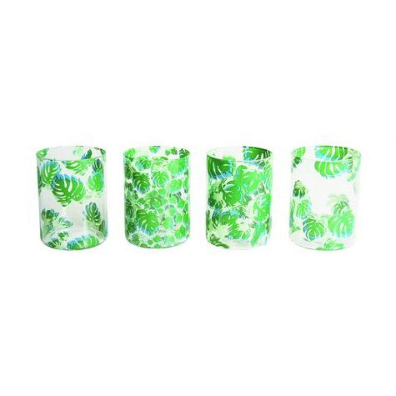 Glass leaves (set de 4). Set de vasos cortos en cristal con impresión 'jungle themed' Foto:Fuente externa