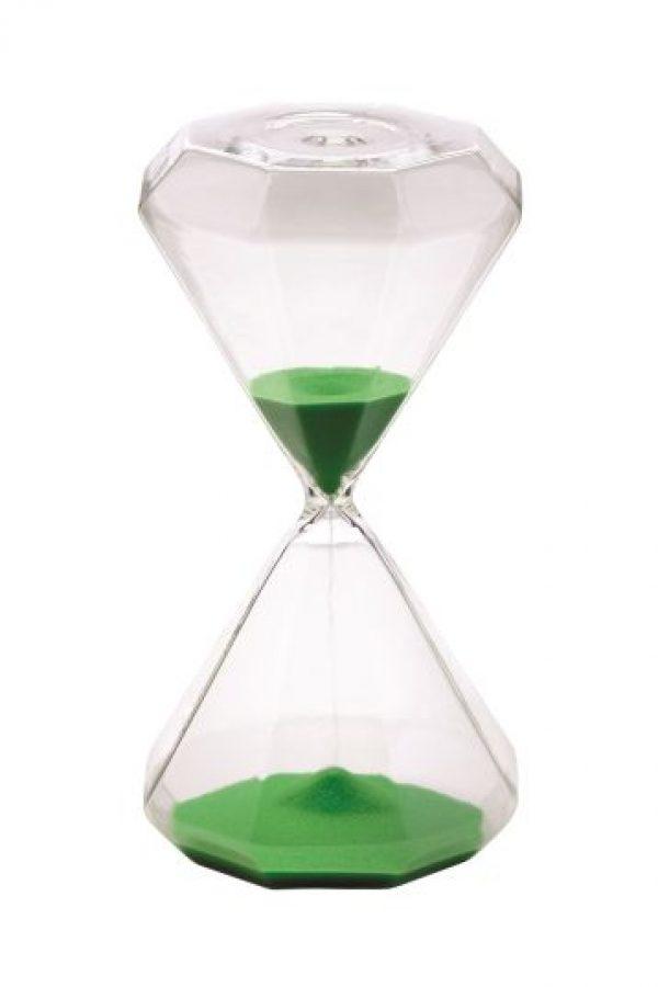 Reloj de Arena. Reloj de Arena verde 100 % de cristal, con 30 minutos de tiempo. Estos artículos agregan un poco de color a espacios minimalistas. Foto:Fuente externa