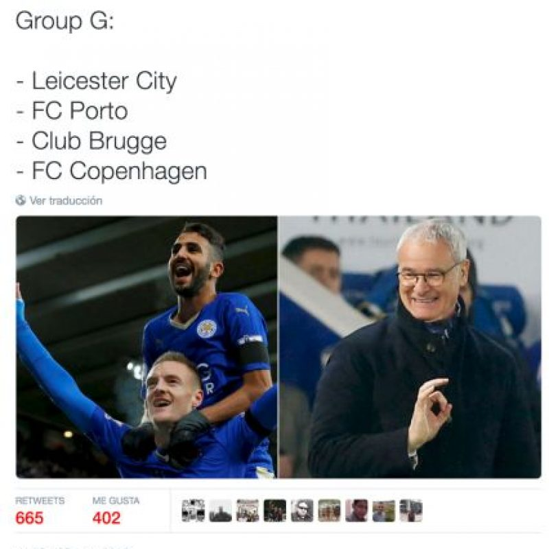 A Leicester City no le tocó mal grupo. Foto:Vía twitter.com