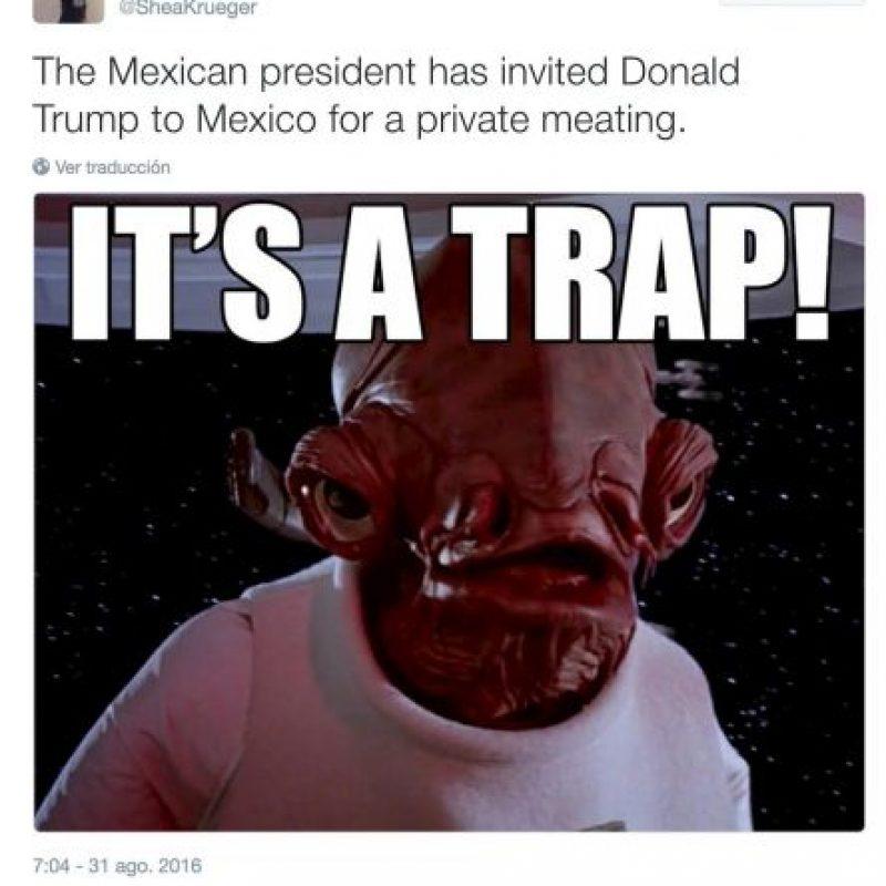 """""""El presidente mexicano invitó a Donald Trump para una reunión privada. ¡Es una trampa!"""" Foto: Twitter.com"""
