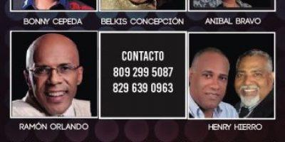 Bonny Cepeda, Ramón Orlando, Belkys Concepción, Henry Hierro y Aníbal Bravo juntos en concierto