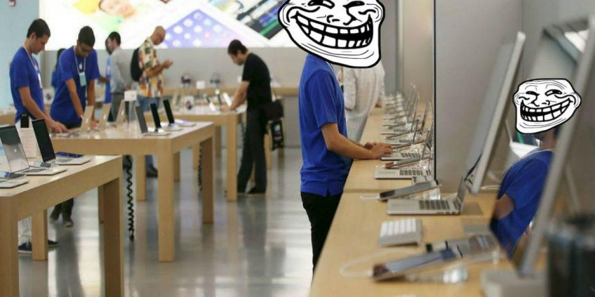 Hombre entra a una Apple Store y destroza celulares y computadoras