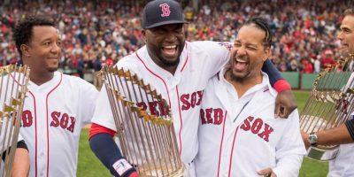 Pedro Martínez, David Ortiz y Manny Ramírez recordaron los viejos tiempos como estrellas principales de los Medias Rojas. Foto:Red Sox