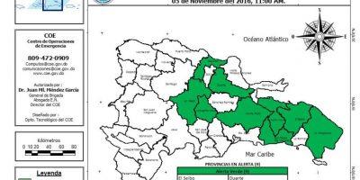 Colocan a nueve provincias en alerta verde por incidencia de lluvias