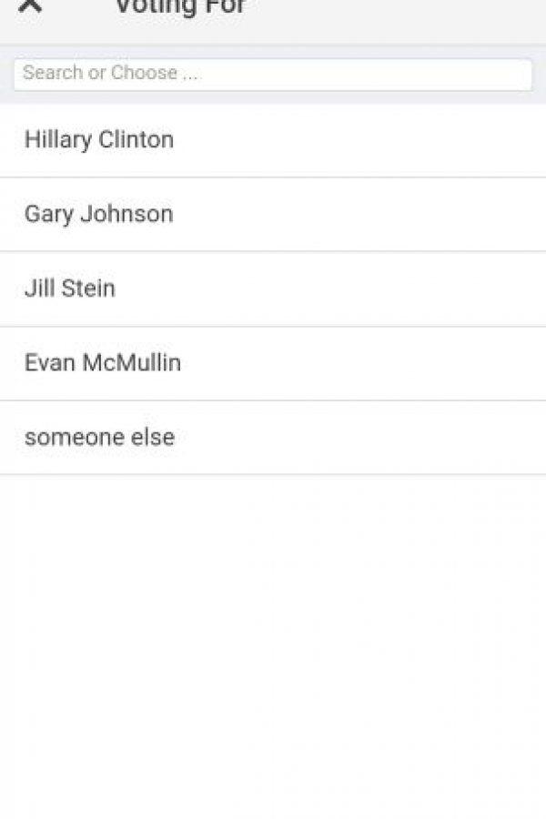 Si ustedes van a votar por un candidato independiente, lo podrán cambiar por uno para HIllary Clinton Foto:#NeverTrump app
