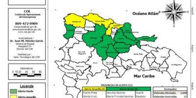 COE eleva a 11 provincias en alerta por lluvias