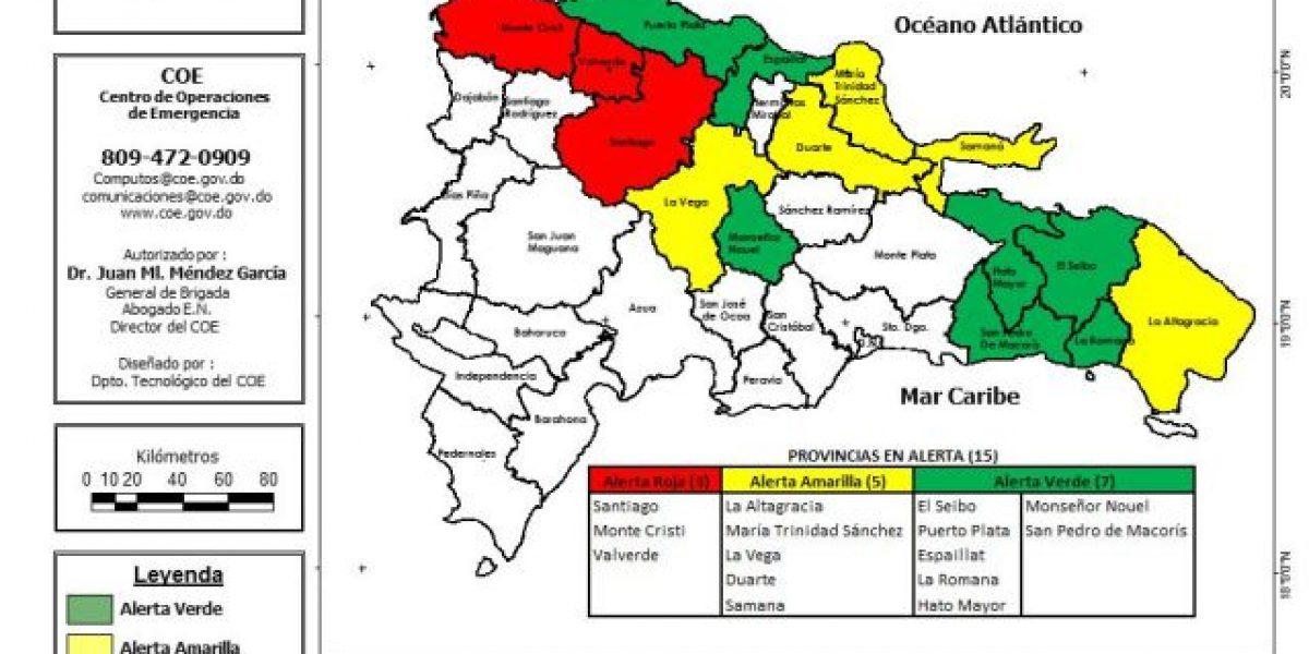COE coloca en  alerta roja a Santiago, Montecristi y Valverde