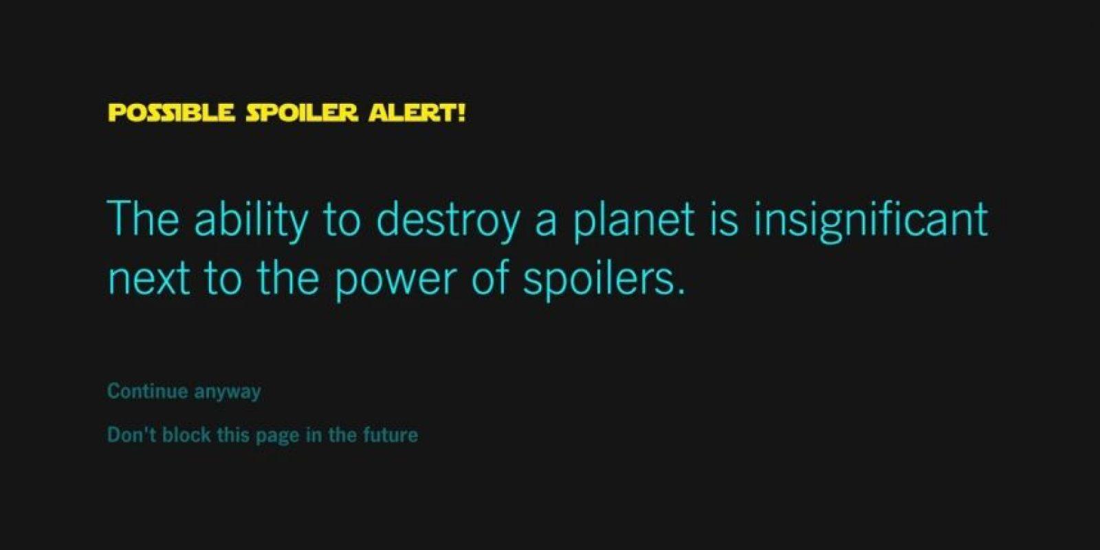 No tendrán que preocuparse por los spoilers. Foto:vía Chrome Store