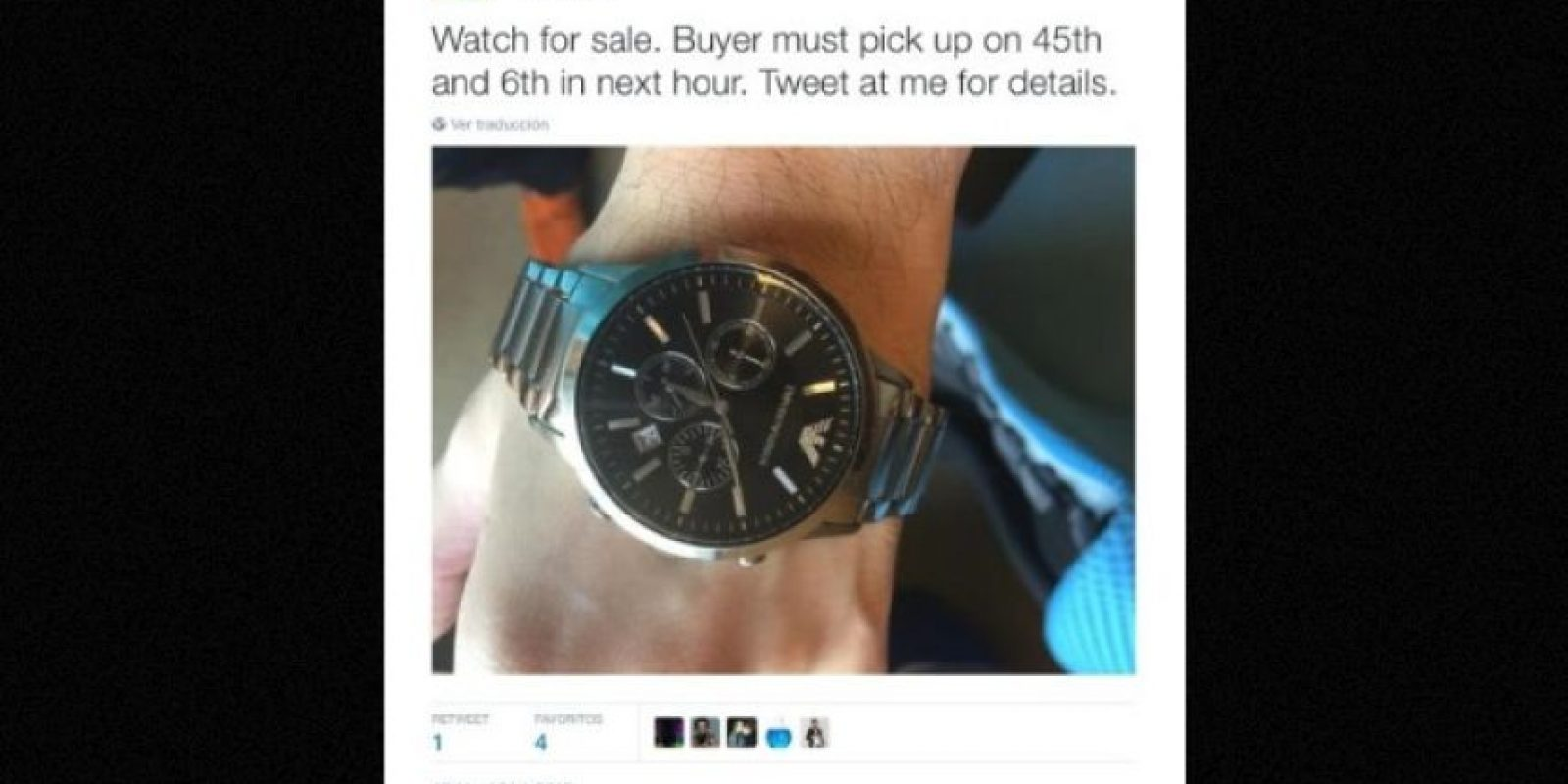 """Se vende reloj"" Foto:Twitter.com – Archivo"