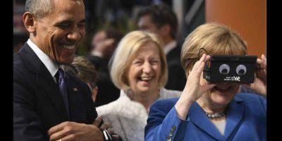 Por lo que muestran las imágenes, los mandatarios se divirtieron con la tecnología. Foto:Getty Images