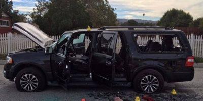 Este fue el auto en el que intentaron escapar. Foto:AFP