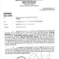 Orden de arresto emitida por la Policía del aeropuerto Joaquín Balaguer (El Higüero) Foto:Fuente Externa