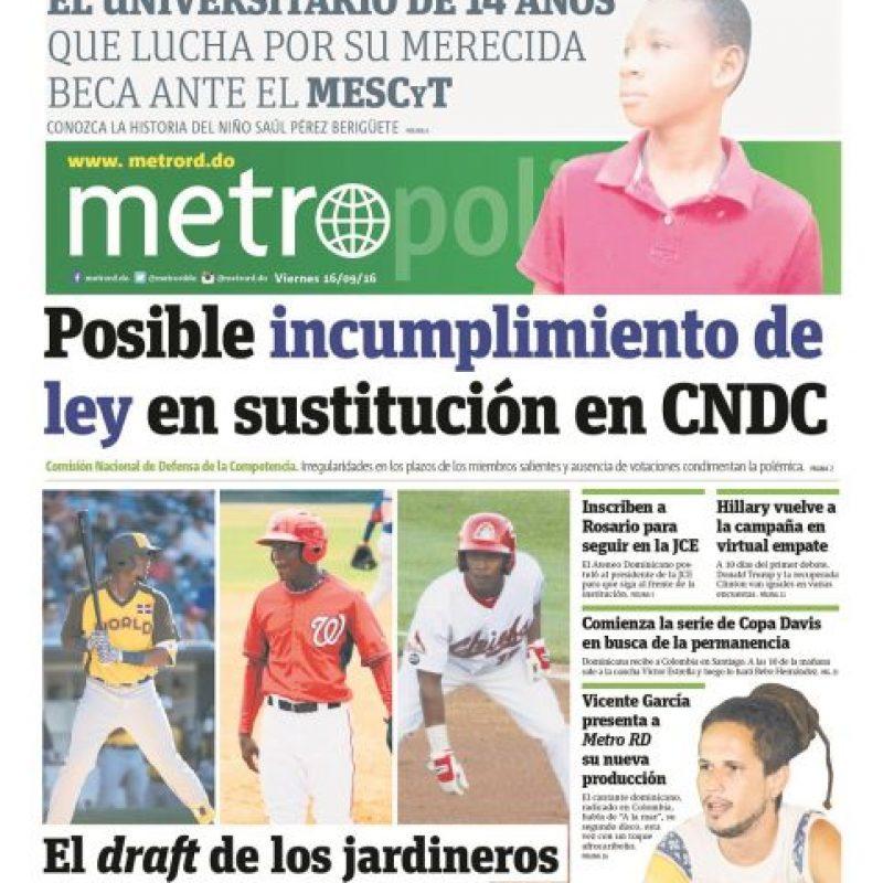 Fue parte de nuestra portada del pasado viernes 16 de septiembre Foto:Metro