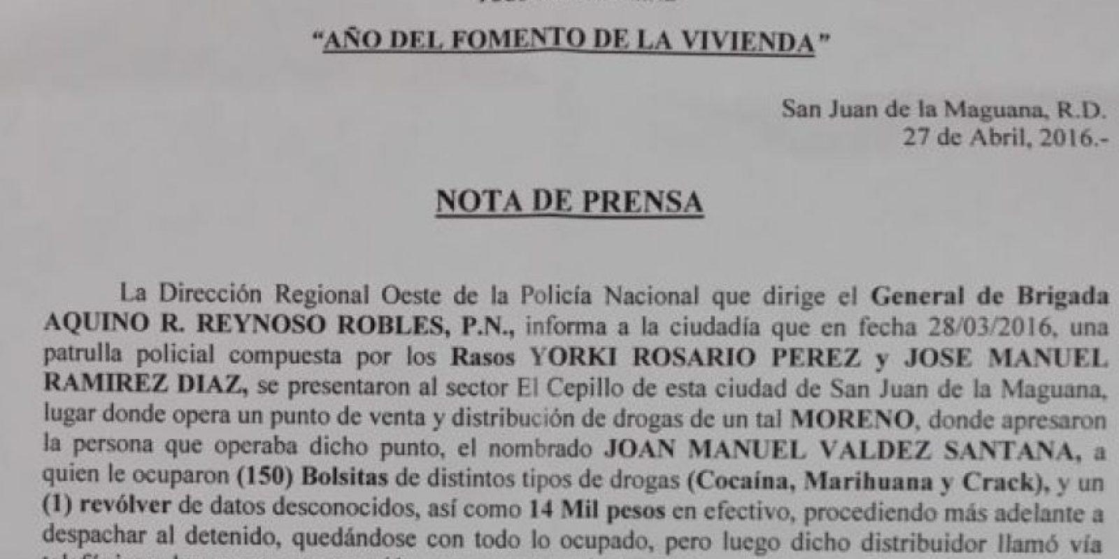Nota de prensa de la Policía en San Juan Foto:Fuente Externa
