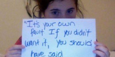 """""""Es tu culpa. Si no lo querías, debiste decir algo"""". Foto:Project Unbreakable"""