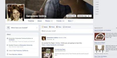 """2013-2014. Facebook introduce una aplicación llamada """"Paper"""" y los colores se vuelven más sutiles. Foto:Facebook"""