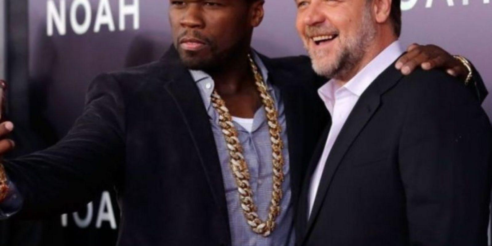 """'50 Cent' y el actor Russell Crowe durante la premiere de """"Noé"""". Foto:Getty Images"""