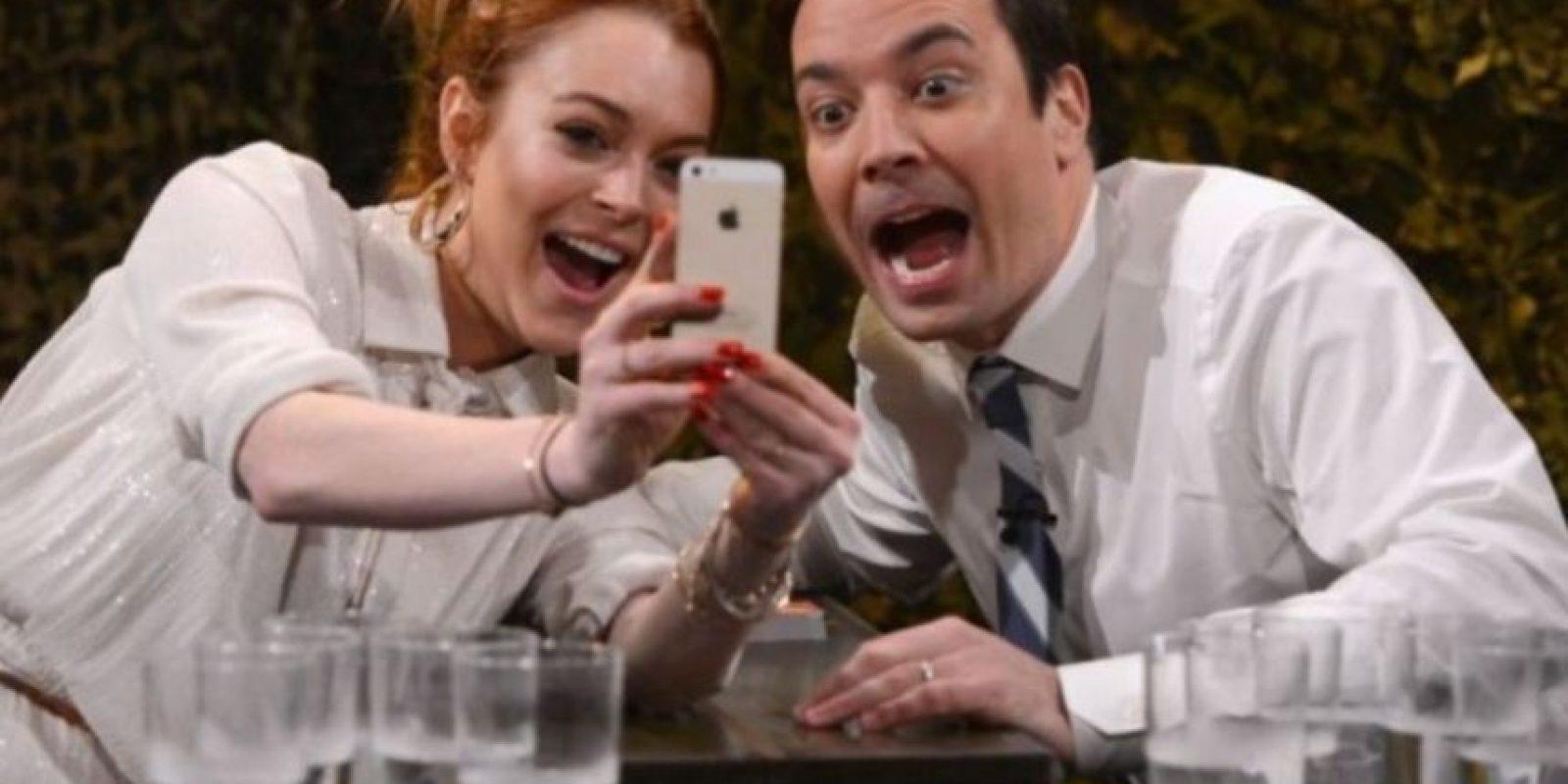 Lindsay Lohan durante su vista al programa Jimmy Fallon. Foto:Getty Images