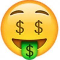 Rostro con ojos y boca verde de dinero. Foto:vía emojipedia.org