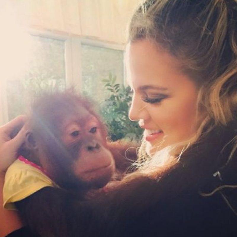 """Así que siguió el consejo de su madre y """"escapó"""" a escuchar los relajantes sonidas de los animales Foto:vía instagram.com/khloekardashian"""