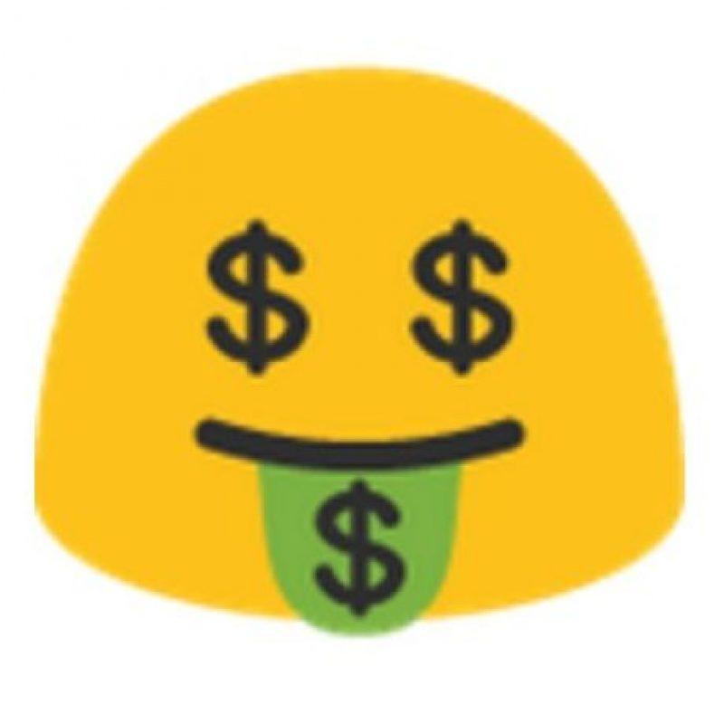 Ojos y lengua de dinero. Foto:vía emojipedia.org