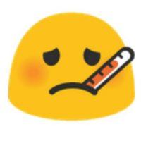 Enfermo con termómetro. Foto:vía emojipedia.org
