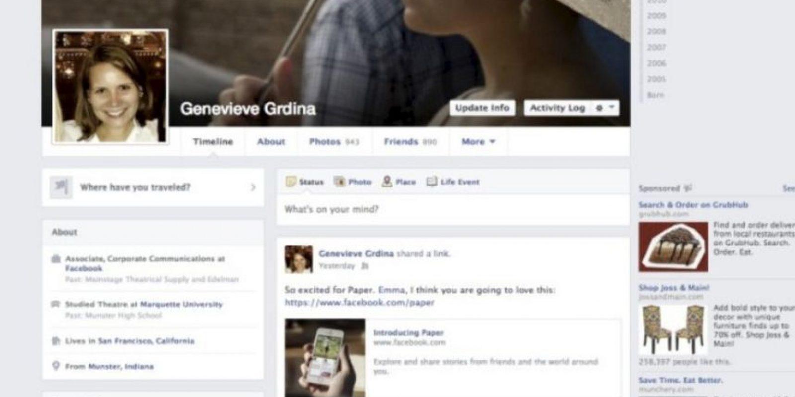 """2013-2014. Facebook introduce una aplicación llamada """"Paper"""" y se los colores se vuelven más sutiles. Foto:vía Facebook.com"""