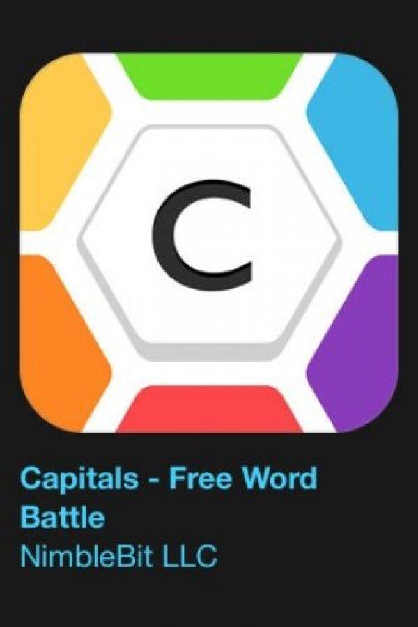 """24- """"Capitals – Free World Battle"""". Es gratuito. Capitales es un juego de palabras social libre y adictivo. Jueguen contra sus amigos a deletrear las mejores palabras y expandir su territorio. Usen la estrategia para defender su capital y noquear a su oponente. Foto:vía Apple"""