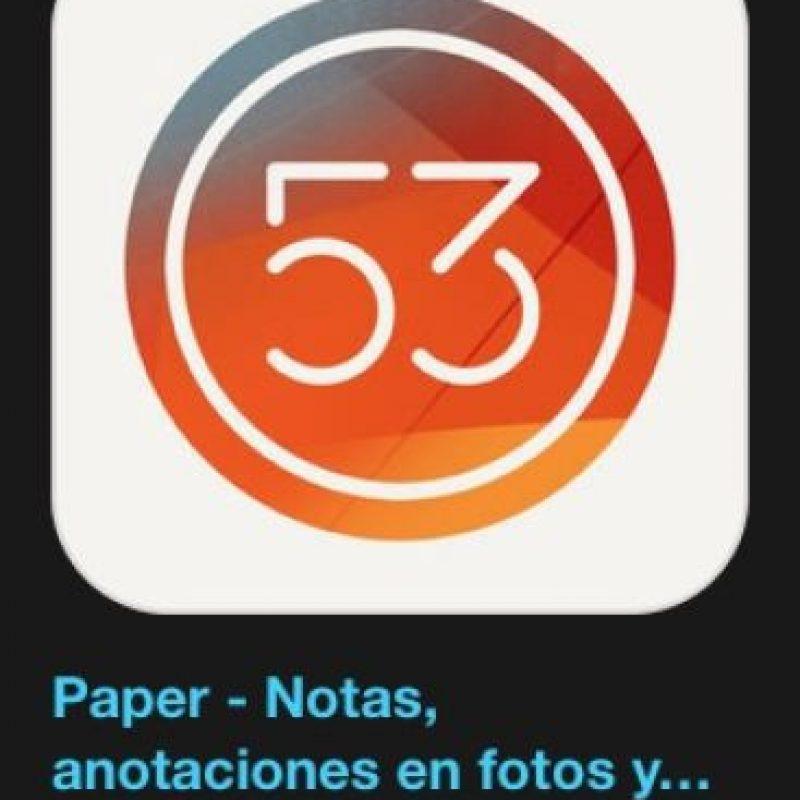 """20- """"Paper"""". Es gratuita y permite capturar y conectar sus notas, fotos y bocetos. Foto:Apple"""