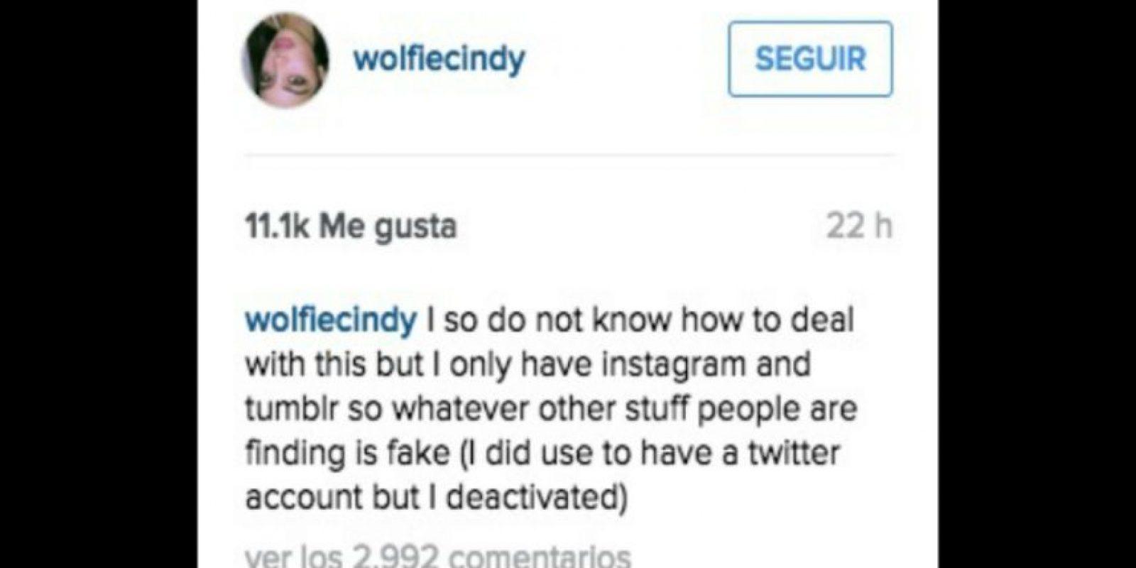 """""""No sé cómo lidiar con esto, pero solo tengo Instagram y Tumblr, así que cualquier otra cosa que la gente esté encontrando es falso (tuve una cuenta de Twitter, pero la desactivé)"""" Foto:Instagram/wolfiecindy"""