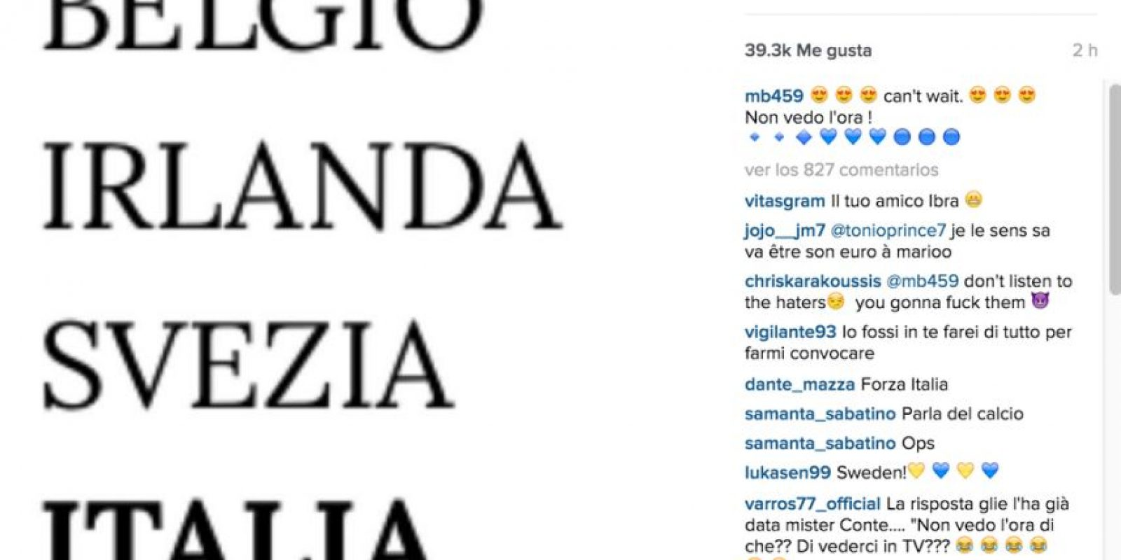 Tras el sorteo de la Eurocopa, Mario Balotelli se mostró emocionado por ir con Italia a esta competencia, pero… Antonio Conte le quitó la ilusión rápidamente. Foto:Vía instagram.com/mb459