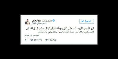 Tras ser coronado en Arabia Saudí, el rey Salman dedicó un mensaje de paz a su pueblo. Foto:vía twitter.com/kingsalman