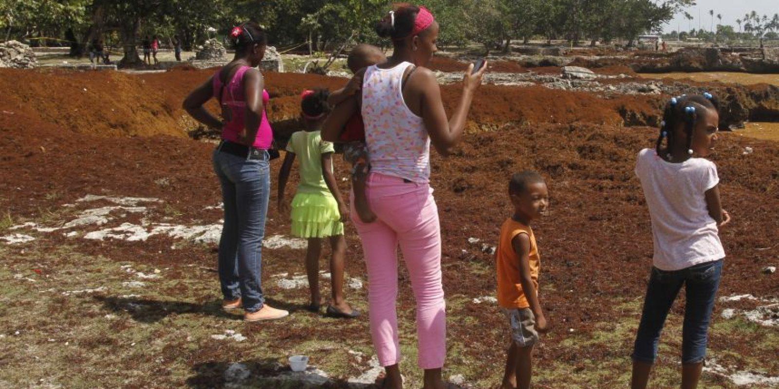 Niños comparten el baño con las algas marinas. Foto:ROBERTO GUZMÁN