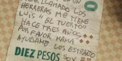 """""""Mamá, ayúdame"""": Petición de rescate escrita en billete es falsa"""