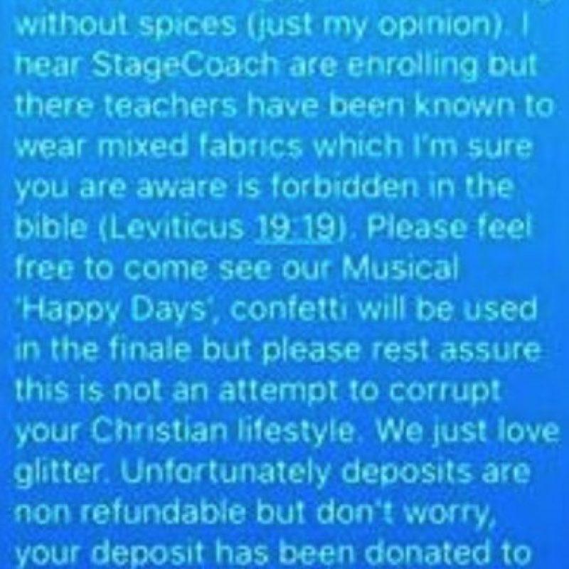 En este mensaje el maestro le comunica que no podrá devolverle el depósito de la colegiatura. Foto:Vía Facebook